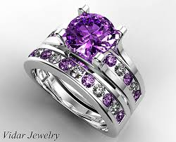 rings with amethyst images Amethyst bridal wedding ring set custom ring order for jeff png