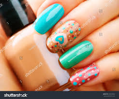 valentine nail art manicure valentines day stock photo 360539600