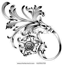 vintage baroque ornament corner retro pattern stock vector