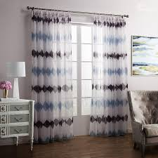 Blue And Brown Curtains New Style Blue Brown Printing Custom Sheer Curtain