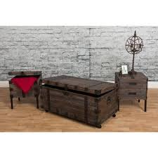 trunk coffee table set bombay reclaimed weathered grey 3 piece occasional trunk table set