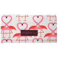 bungalow 360 large vegan canvas clutch wallet pink flamingo