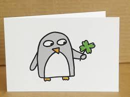luck card penguin blank inside