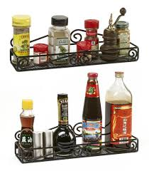 Spice Rack Mccormick Amazon Com 2 Wall Mounted Black Spice Racks Single Tier Hanging