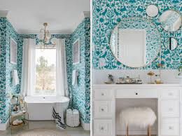 bathroom wallpaper designs how to get this bold high end bathroom look on a budget
