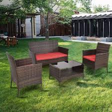 Metal Patio Furniture Set - 4 pcs outdoor patio rattan table w shelf and sofa set outdoor