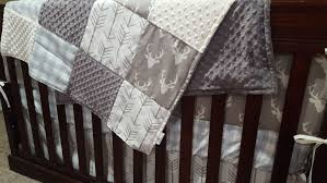 Minky Crib Bedding Rustic Baby Boy Crib Bedding Buck Deer White Arrows Light
