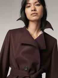 massimo dutti wool trench coat with belt detail