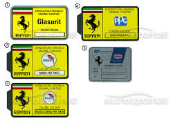 ferrari miscellaneous ferrari stickers paint code page 010