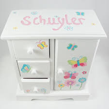 girl jewelry box personalized bright butterflies and flowers personalized musical jewelry box