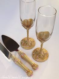 serving set wedding pink and gold toasting flute cake server set pink and gold with