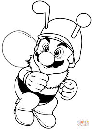 bee mario coloring free printable coloring pages