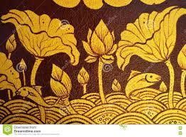 ancient thai painting on wall in buddha temple stock photo image