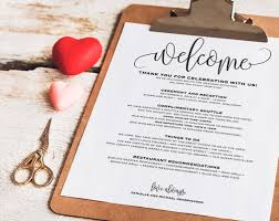 wedding itinerary welcome bag printable itinerary welcome