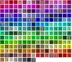 browser safe colors organized by hue with hex and rgb callouts