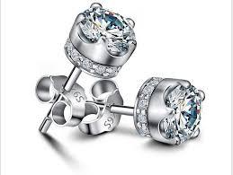 stainless steel stud earrings vintage stainless steel studs mens violet earrings with cubic