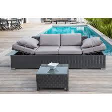 canapé de jardin salon de jardin 1 table basse 1 canapé 2 places en résine tressée