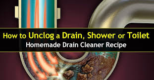 Unclog A Bathtub Drain Home Remedies How To Unclog A Drain Shower Or Toilet Homemade Cleaner Recipe