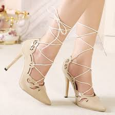 Apricot Color Apricot Color Lace Up Pointed Toe Pump Celebrity Brand Shallow
