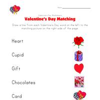 valentine u0027s day matching worksheet all kids network
