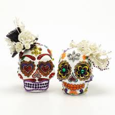 sugar skull cake topper dia de los muerto skull wedding cake topper centerpiece keepsake