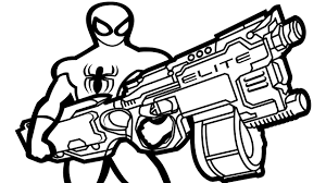 spiderman wiht nerf gun coloring book coloring pages kids fun art