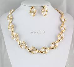 new gold set wholesale new gold wedding bridal pearl rhinestone