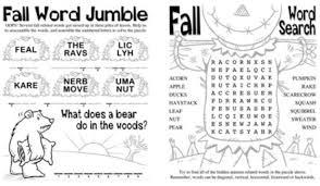 fall printable educational worksheets word jumble crossword word