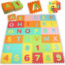 tappeto di gomma per bambini kiduku皰 tappeto puzzle 86 pezzi con numeri e lettere colorati in