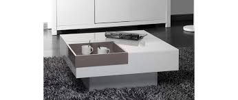 White Modern Coffee Tables by Teena Glossy White Modern Coffee Table With Removable Taupe Tray