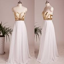 white wedding dress with gold beading sell floor length prom dress white a line gold beaded for