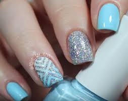 how to blue and silver glitter nail design nail designs