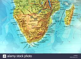 Geographical Map Of Africa by Close Up Shot Of Geographical Globe Focusing On South Africa And