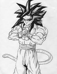 to draw goku super saiyan 4