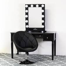 black vanity set with lights black vanity table with power outlets