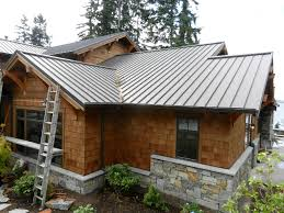 houses with brown metal roofs