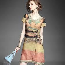 women cotton linen dress 2015 summer floral printed runway dress