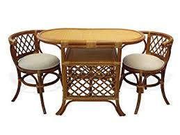 wicker kitchen furniture amazon com borneo compact dining set table 2 chairs brown