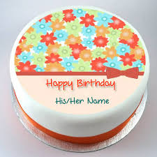colourful flowers beautiful birthday cake with name hbd cake