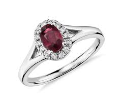 ruby engagement rings oval ruby and halo ring in 18k white gold 6x4mm blue nile