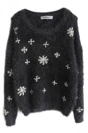 snowflake sweater gray womens snowflake warm pullover crew neck sweater