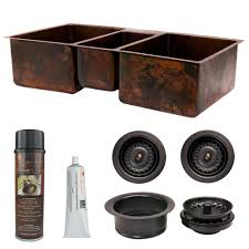 Triple Bowl Kitchen Sinks by Premier Copper Products Undermount Hammered Copper 42 In 0 Hole