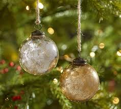 silver gold mercury glass ornaments set of 6 pottery barn