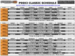p90x3 schedule calendar for the classic program