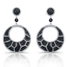 black chandelier earrings white gold black and white diamond animal print chandelier earrings