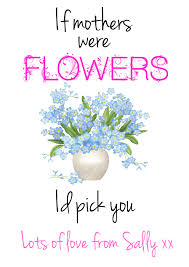personalised mothers day gift flower quote mum mummy keepsake