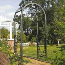 rowlinson round curved top grey metal wrenbury garden arch trellis
