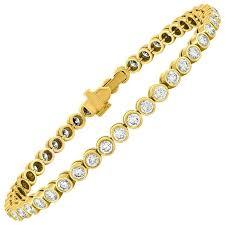 bracelet diamond yellow images 4 00 carat diamond three prong tennis bracelet at 1stdibs jpg