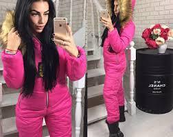 pink jumpsuit womens winter jumpsuit etsy