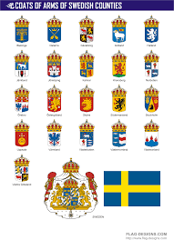 coats of arms of swedish counties vector clipart vector images